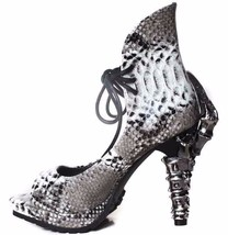 """Hades VAMP Faux Snakeskin Viper Lace Up 5"""" High Claw Heels Open Toe Vegan Shoes - $114.00"""