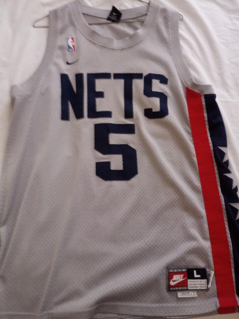 095ecc19e NEW YORK NETS JASON KIDD THROWBACK Gray  5 Size Large AUTHENTIC NBA JERSEY