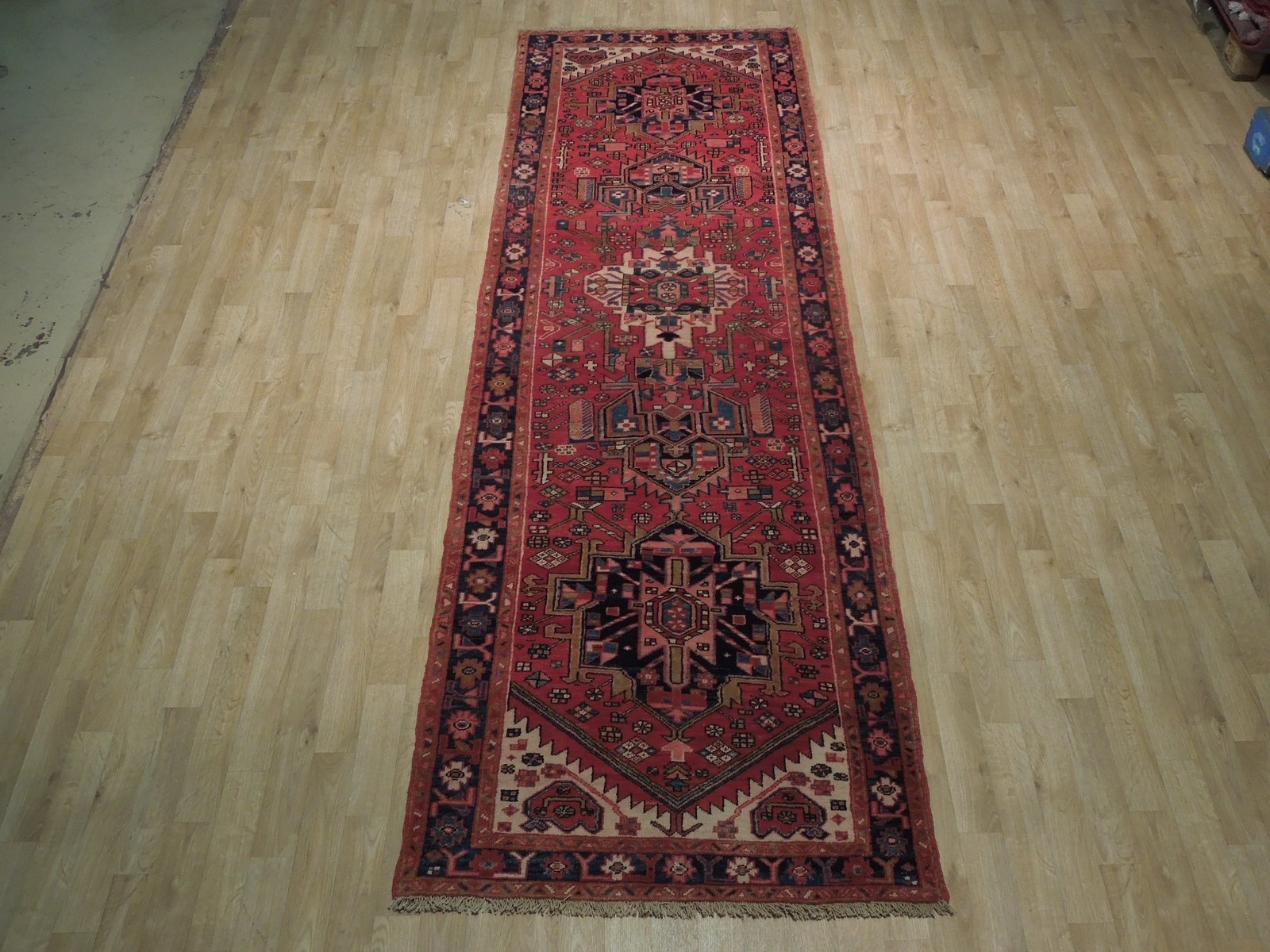 Tribal Inspired Olde Runner Persian Hand-Knotted 2' x 11' Red Heriz Wool Rug image 4
