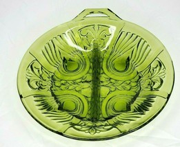 Indiana Glass Co Green Killarney 2 Way Divided Relish Dish Bowl w/Handle... - $15.44
