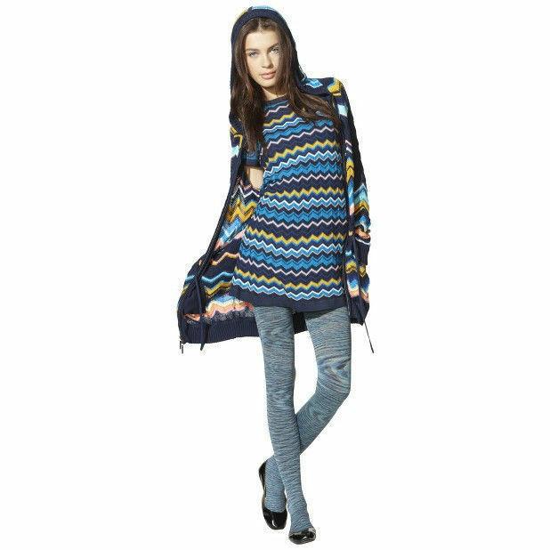 Women's Missoni Knit Long Sweater Hoodie Jacket w/ pockets - Blue VIA Chevron