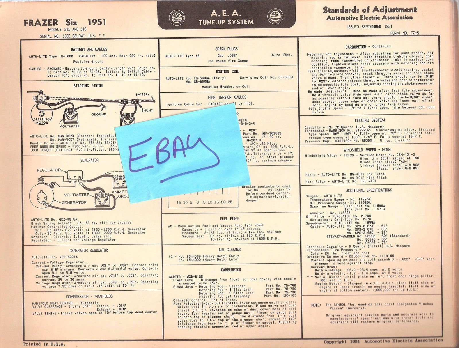 1951 AEA Tune-up Chart Wiring Diagram Frazer and 50 similar items