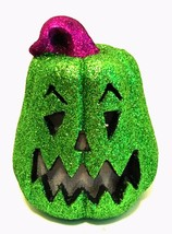 Halloween Glitter Jack-o-Lantern Green LED Sound Activated Pumpkin 8 inc... - £18.20 GBP