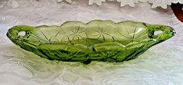 """Vintage Indiana Glass Avocado Green Relish Dish, Lily Pons, 9.5"""" with Handles image 5"""