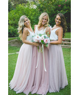 BLUSH High Waist Full Tulle Maxi Skirt Blush Wedding Women Maxi Tulle Sk... - $53.99