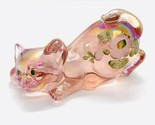 Fenton Pink Carnival Art Glass Crouching Cat Hand Painted Signed W/ Stickers