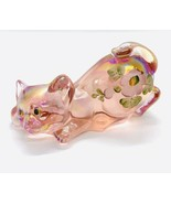 Fenton Pink Carnival Art Glass Crouching Cat Hand Painted Signed W/ Stic... - $58.05