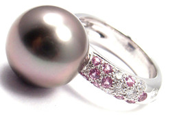 Authentic! Cartier 18k White Gold Tahitian Pearl Diamond Pink Sapphire Ring - $4,608.00