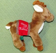 "10"" Vintage Dakin Reindeer MERRY CHRISTMAS Plush 1986 Holiday Blanket Br... - $24.75"