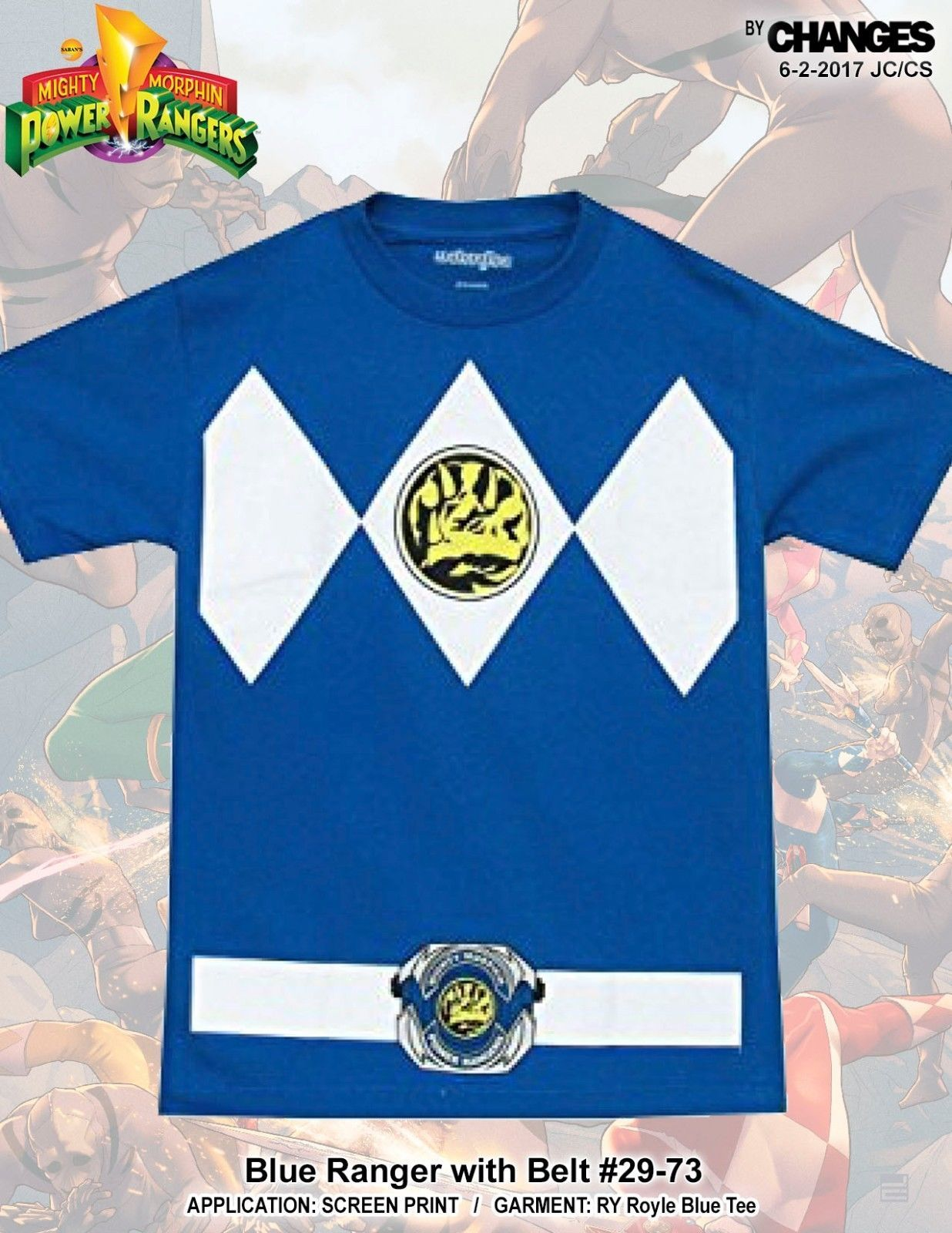 Mighty Morphin Power Rangers Blu Ranger Supereroe Costume Halloween T Shirt