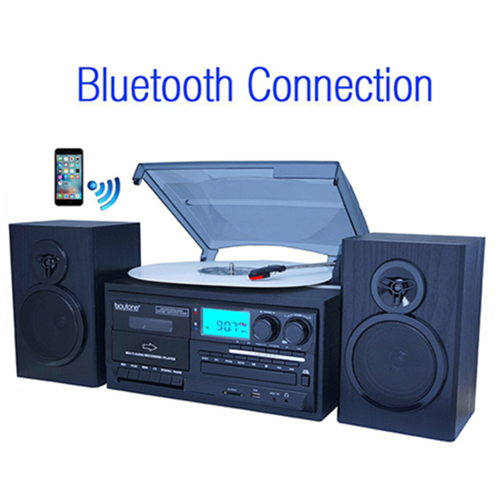 Boytone BT-28SPB, Bluetooth Classic Style Record Player Turntable with AM/FM Rad