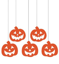 Pumpkins Hanging Glitter Cutouts 5 ct Party Dizzy Danglers Swirls - $5.66 CAD