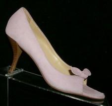 Ann Taylor LOFT purple lilac suede peep toe bow slip on stacked heels 7M - $33.30