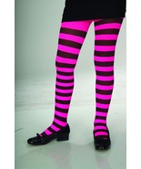 Girls Pink and Black Striped Tights - $6.00
