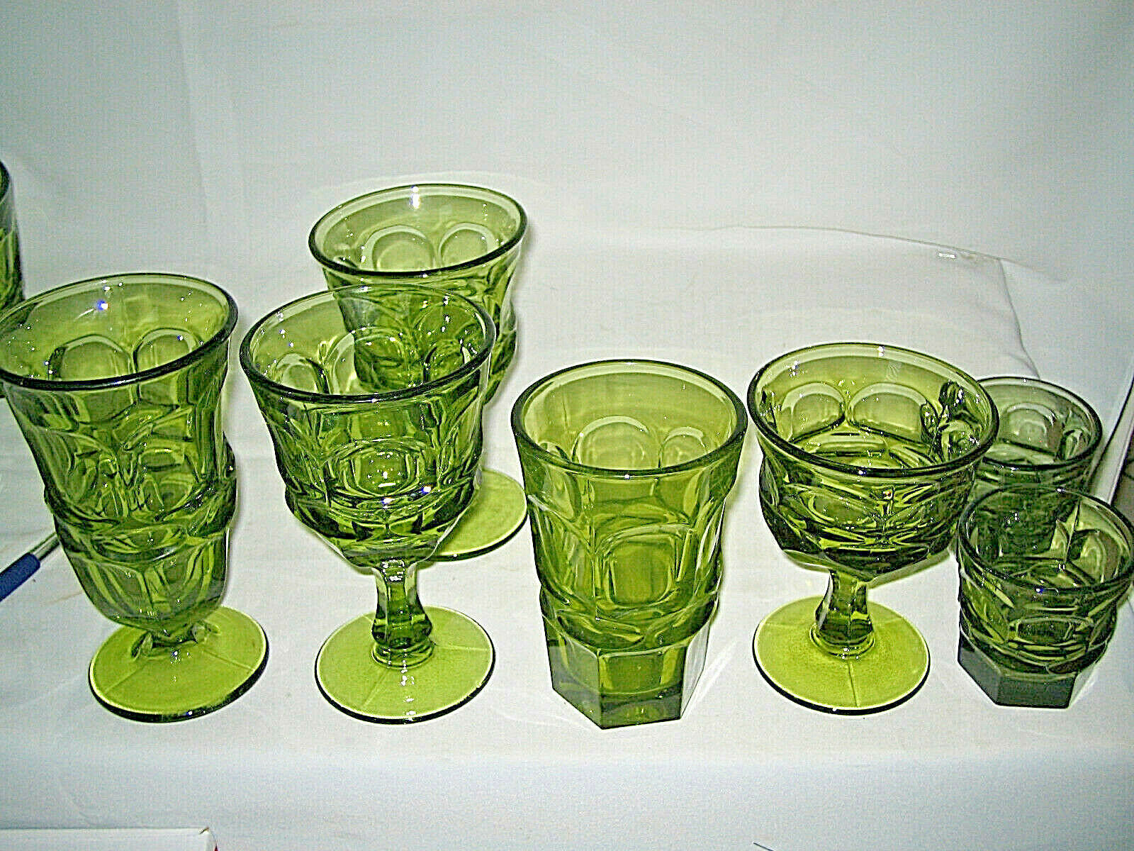 Primary image for 7 pc  Fostoria glass Argus Green  5 different sizes LOOK