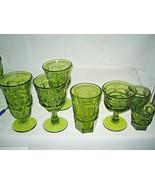 7 pc  Fostoria glass Argus Green  5 different sizes LOOK - $34.99