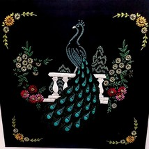 "Vintage 15.5""x15.5"" Complete Embroidery Peacock Floral on Satin Wall Art - $34.82"