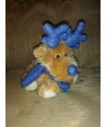 "Dandee Dog Plush 7"" Christmas Blue Glitter Antlers Scarf Puppy Stuffed A... - $15.83"