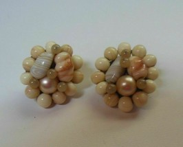Vintage Japan Signed Glass Bead Cluster Faux Pearls Clip-on Earrings - $21.77