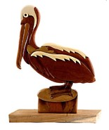 Pelican Sea Bird Seashore Table Top Decor Intarsia Wood Figurine New - $36.58