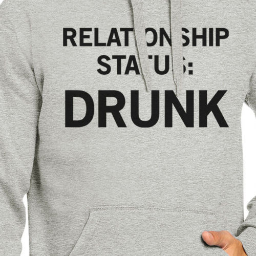 Relationship Status Unisex Grey Fleece Hoodie Humorous Graphic