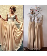 Chamagne Chiffon Long Maid Of Honor Dress Sequined Women Bridesmaid Dres... - $95.00