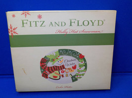 Fitz and Floyd Holly Hat Snowman Cookie Platter Plate Tree Christmas 29-... - $24.99