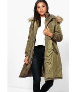 boohoo Boutique Sophia Longline Luxe Double Layered Parka Khaki Size US ... - $55.43