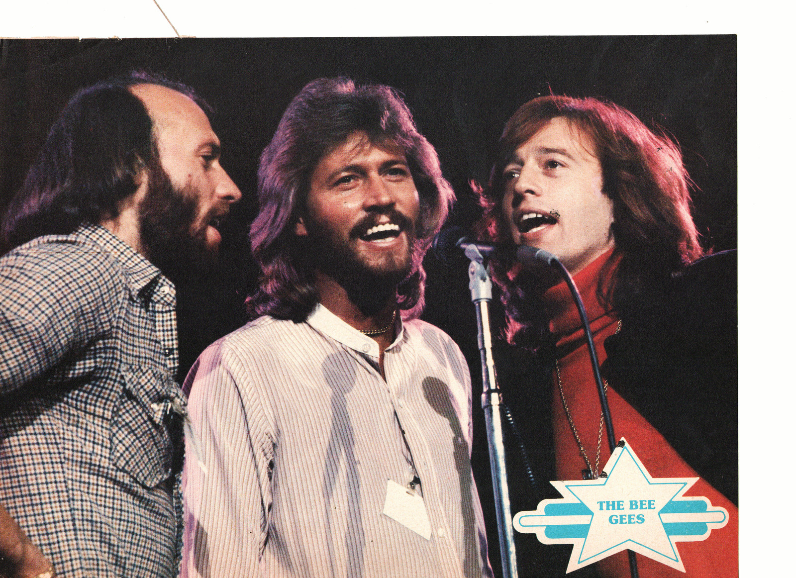 Bee Gees John Schneider teen magazine pinup clipping singing in the studio 70's