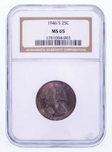 1946-S 25C Washington Quarts Classé Par NGC Comme MS-65 - $33.26