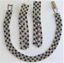 """Vintage Black Clear Rhinestone Set Bracelet 6 1/4"""" Dangle Pierced Earrings - $18.97"""
