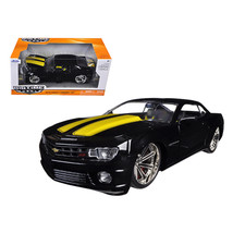 2010 Chevrolet Camaro SS Black With Yellow Stripes 1/24 Diecast Model Ca... - $30.60