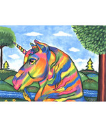 Abstract Rainbow unicorn horse original art print fantasy animals beasts... - $7.99