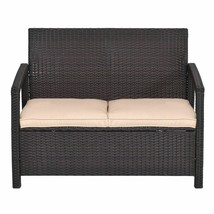 Outdoor Bench Loveseat with Cushions Patio Garden Porch Furniture Brown ... - $118.75