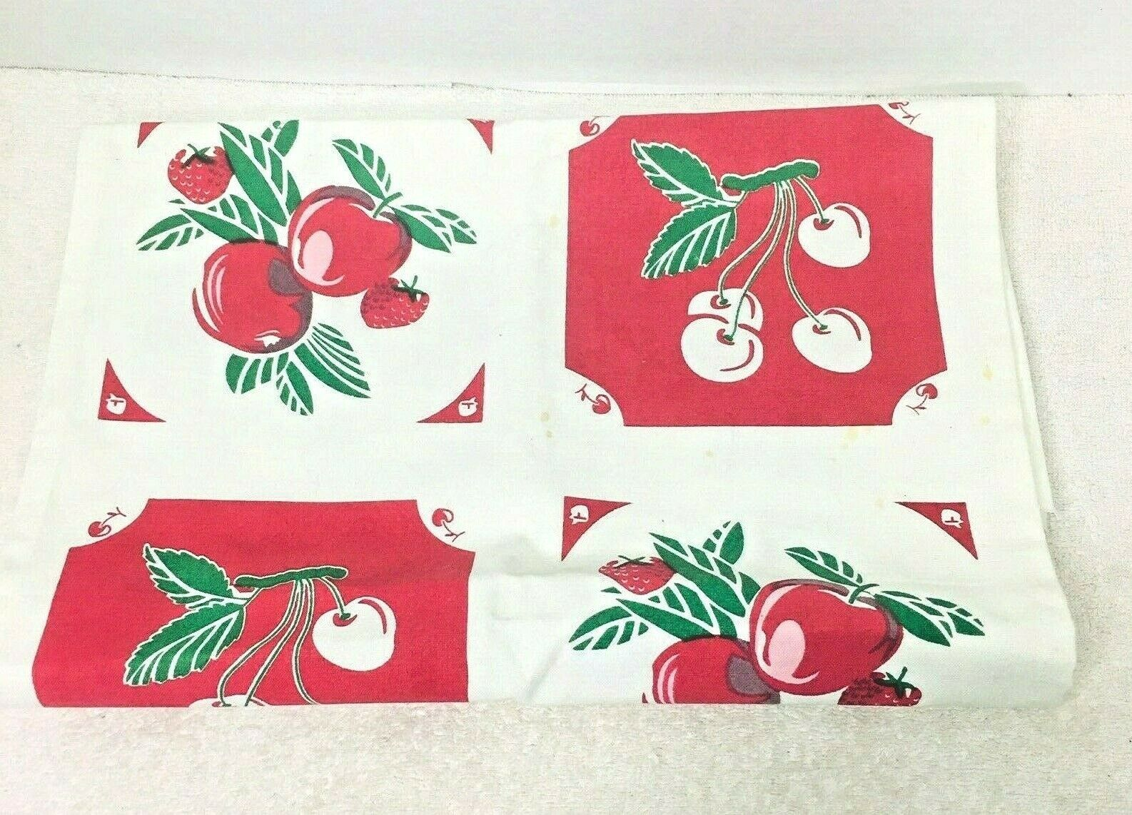 Primary image for Reproduction Kitchen Toweling Towel Fabric Unsewn Red Cream Green Cherries Apple