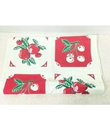 Reproduction Kitchen Toweling Towel Fabric Unsewn Red Cream Green Cherri... - $18.32
