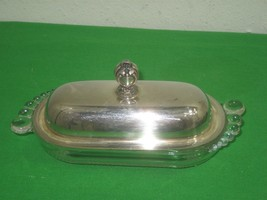 Vintage Silver Plated Butter Dish Lid & Knob with Glass Body Details - $12.82