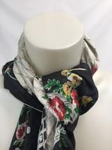 "Women Floral Lattice Border Scarf 31"" Square Black Multi Head Cover Lightweight - $24.50"