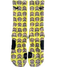 Custom Yellow Emoji Monkey Nike Elite Socks ALL Sizes FAST SHIPPING - $23.99