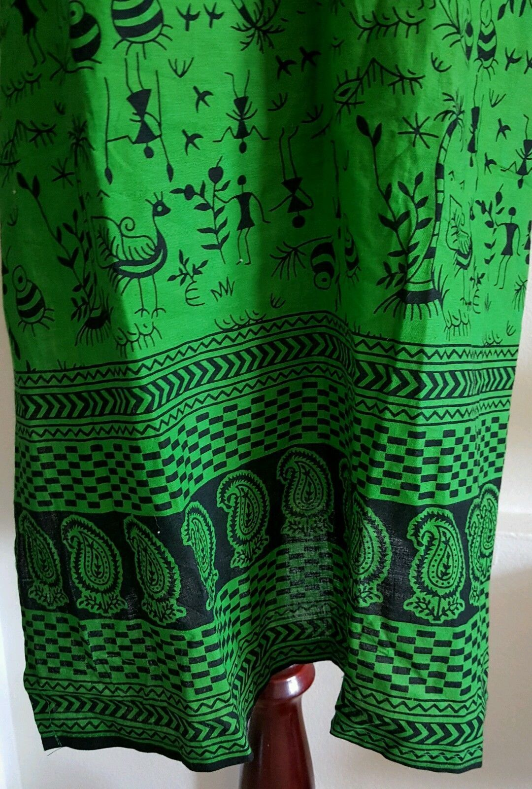 Tunic Top Green and Black Playful Fun Fabric Cotton Short Sleeve Size L NWOT
