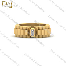 Solitaire 0.10ct Emerald Cut Wedding Band For Mens Anniversary Band Gift... - £87.66 GBP+