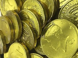 Solid Milk Chocolate Large Kennedy Gold Coins - 10 Full Pounds Bulk Whol... - $74.89