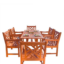 Malibu Eco-Friendly 7-Piece Wood Outdoor Dining Set V189SET9 - $968.68