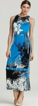 Elie Tahari Beatrice Delta Blue Print Jersey Self Tie Belt Long Maxi Dress $358 - $139.50