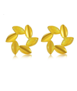 ZZZ 24k Pure Gold Stud Earrings Simple and Generous Fashion and Spring - $471.99