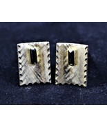 Cuff Links Rectangle Shaped Gold Tone with Black Stone - $11.87