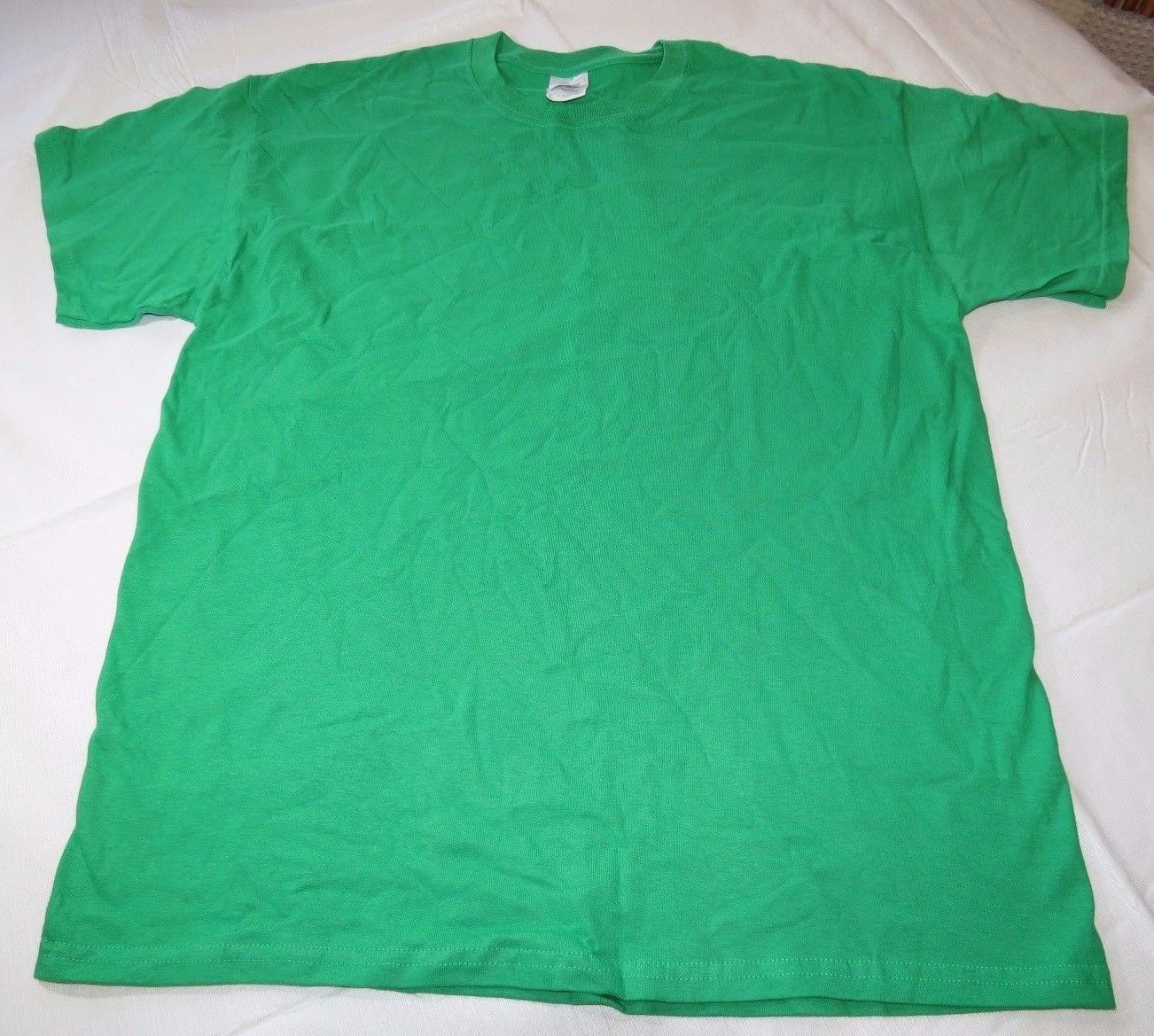 Gildan Ultra Cotton adult L large lg mens short sleeve t shirt kelly green NOS