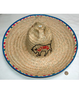 "El Torito Mexican Restaurant Mens M 7"" Woven Straw Birthday 16"" Sombrero... - $34.63"