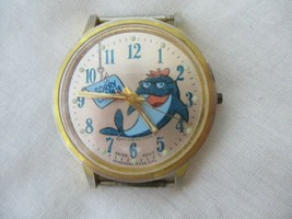 Sorry Charlie Swiss Made Watch Round Gold Toned Face Shark Graphic FOR REPAIR - $79.00