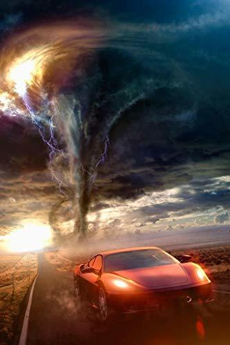 Primary image for sy'decorative Red Sports Car Driving Away from Tornado Photo Art Print Poster 24